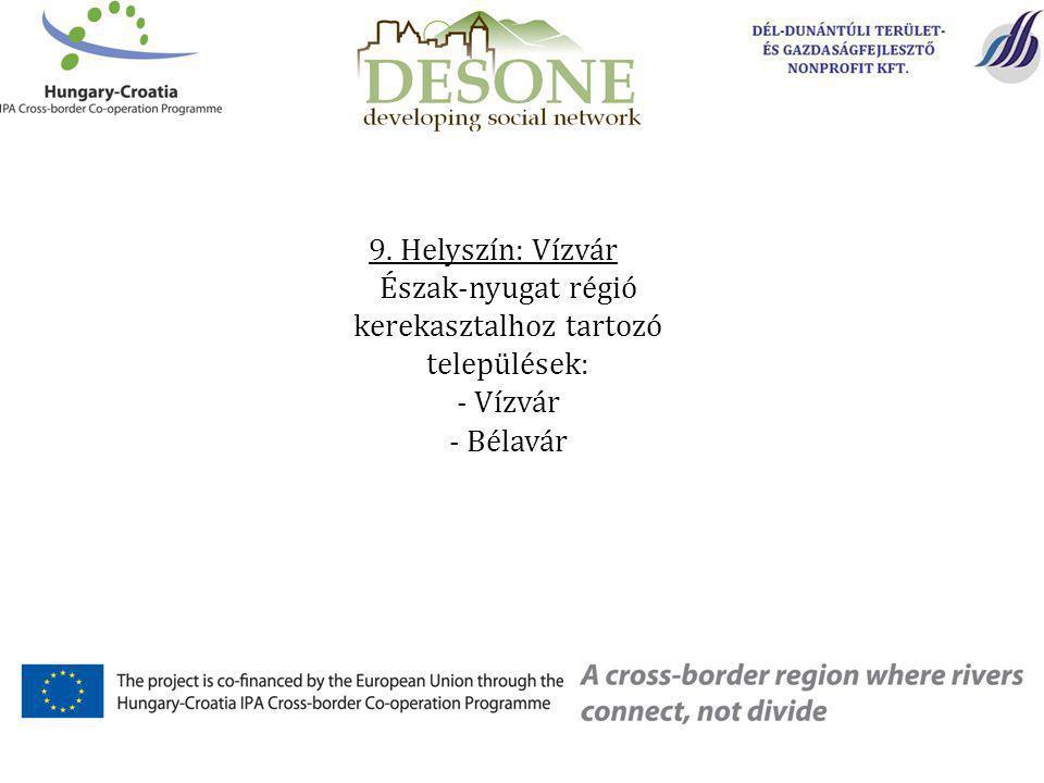 9. Helyszín: Vízvár Észak-nyugat régió kerekasztalhoz tartozó települések: - Vízvár - Bélavár