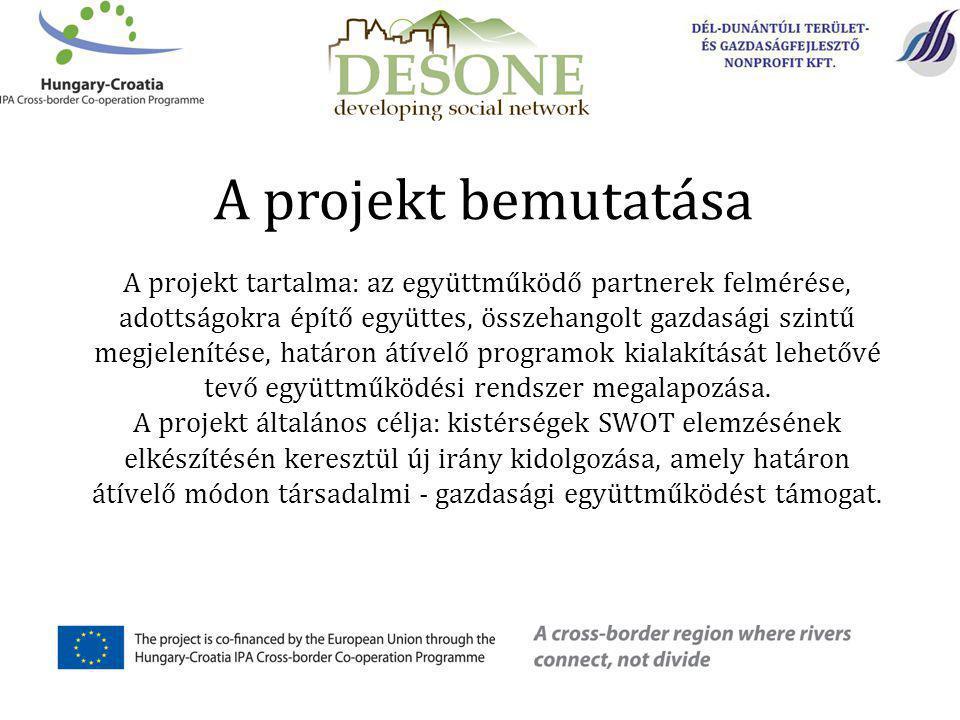 A projekt bemutatása A projekt tartalma: az együttműködő partnerek felmérése, adottságokra építő együttes, összehangolt gazdasági szintű megjelenítése, határon átívelő programok kialakítását lehetővé tevő együttműködési rendszer megalapozása.