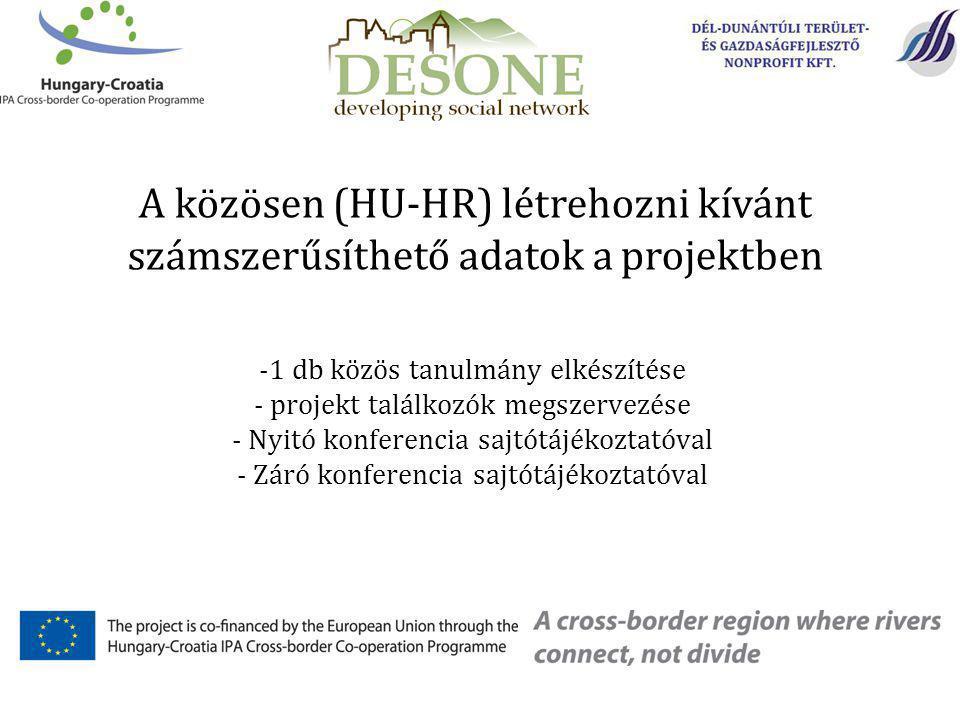 -1 db közös tanulmány elkészítése - projekt találkozók megszervezése - Nyitó konferencia sajtótájékoztatóval - Záró konferencia sajtótájékoztatóval A közösen (HU-HR) létrehozni kívánt számszerűsíthető adatok a projektben