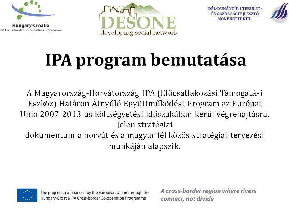 A Magyarország-Horvátország IPA (Előcsatlakozási Támogatási Eszköz) Határon Átnyúló Együttműködési Program az Európai Unió 2007-2013-as költségvetési időszakában kerül végrehajtásra.