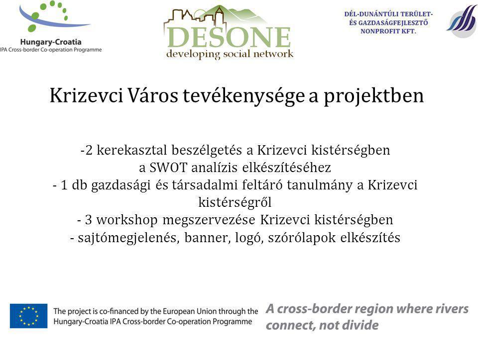 -2 kerekasztal beszélgetés a Krizevci kistérségben a SWOT analízis elkészítéséhez - 1 db gazdasági és társadalmi feltáró tanulmány a Krizevci kistérségről - 3 workshop megszervezése Krizevci kistérségben - sajtómegjelenés, banner, logó, szórólapok elkészítés Krizevci Város tevékenysége a projektben