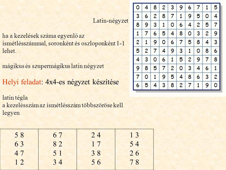 Latin-négyzet ha a kezelések száma egyenlő az ismétlésszámmal, soronként és oszloponként 1-1 lehet.