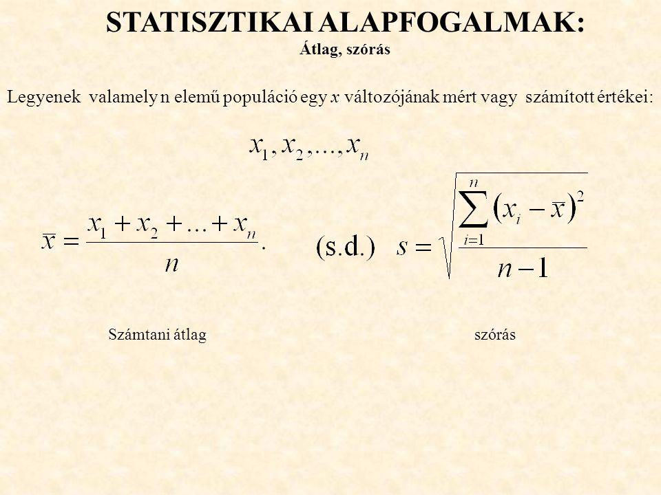 STATISZTIKAI ALAPFOGALMAK: Átlag, szórás Legyenek valamely n elemű populáció egy x változójának mért vagy számított értékei: Számtani átlag szórás