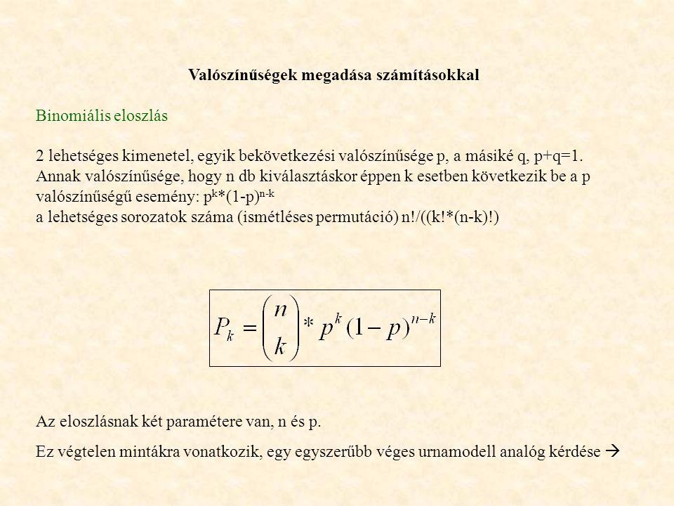 Valószínűségek megadása számításokkal Binomiális eloszlás 2 lehetséges kimenetel, egyik bekövetkezési valószínűsége p, a másiké q, p+q=1. Annak valósz