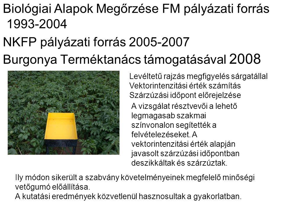 Biológiai Alapok Megőrzése FM pályázati forrás 1993-2004 NKFP pályázati forrás 2005-2007 Burgonya Terméktanács támogatásával 2008 Levéltetű rajzás megfigyelés sárgatállal Vektorintenzitási érték számítás Szárzúzási időpont előrejelzése A vizsgálat résztvevői a lehető legmagasab szakmai színvonalon segítették a felvételezéseket.