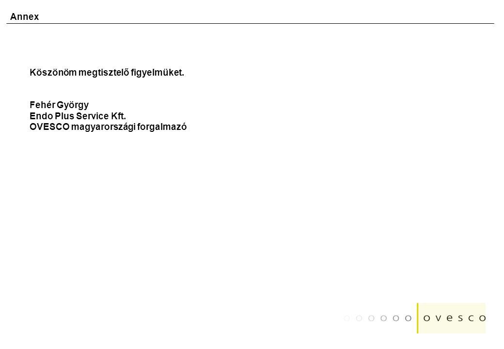 Annex Köszönöm megtisztelő figyelmüket. Fehér György Endo Plus Service Kft. OVESCO magyarországi forgalmazó