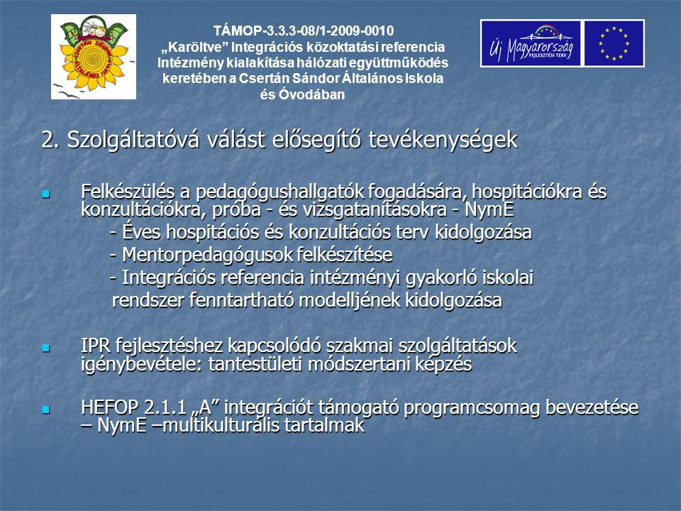 2. Szolgáltatóvá válást elősegítő tevékenységek Felkészülés a pedagógushallgatók fogadására, hospitációkra és konzultációkra, próba - és vizsgatanítás
