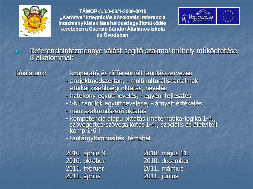 Referenciaintézménnyé válást segítő szakmai műhely működtetése 8 alkalommal: Referenciaintézménnyé válást segítő szakmai műhely működtetése 8 alkalommal: Kínálatunk: - kooperatív és differenciált tanulásszervezés - projektmódszertan, - multikulturális tartalmak - etnikai kisebbségi oktatás, nevelés - hatékony együttnevelés, - egyéni fejlesztés - SNI tanulók együttnevelése, - árnyalt értékelés - nem szakrendszerű oktatás - kompetencia alapú oktatás (matematika-logika 1-4., szövegértés-szövegalkotás 1-4., szociális és életviteli komp.1-6.) - tantárgytömbösítés, témahét 2010.