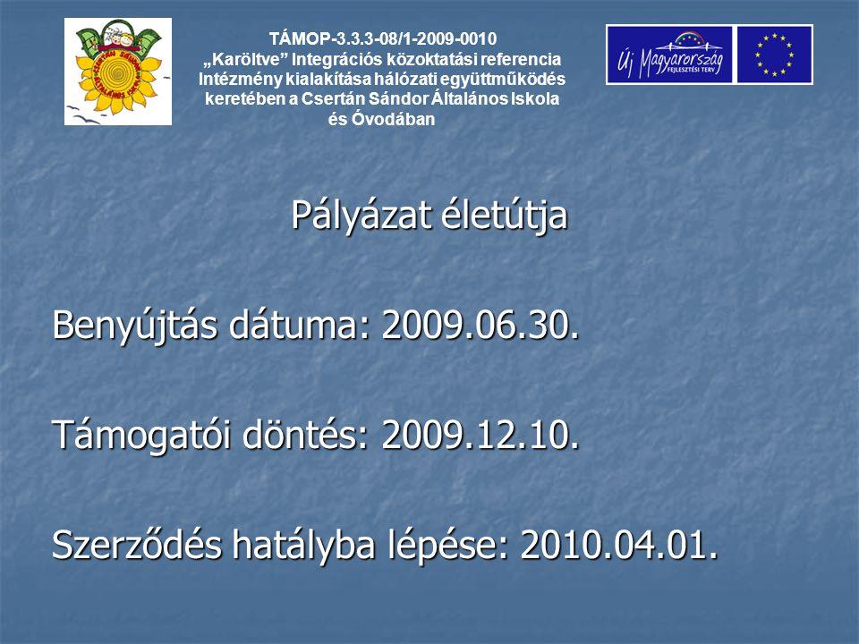 Pályázat életútja Benyújtás dátuma: 2009.06.30. Támogatói döntés: 2009.12.10.