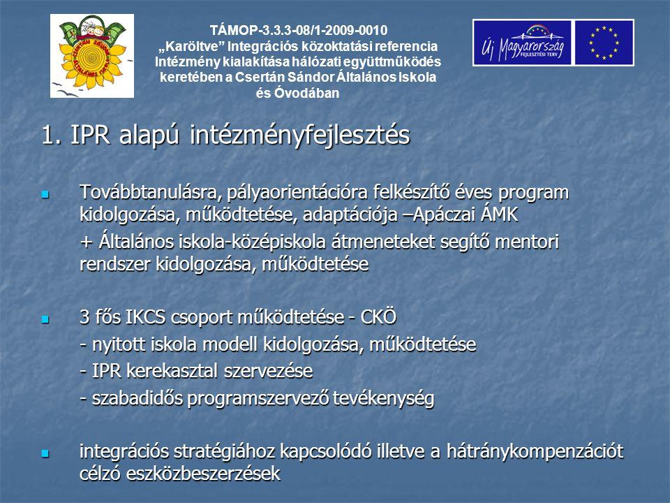 1. IPR alapú intézményfejlesztés Továbbtanulásra, pályaorientációra felkészítő éves program kidolgozása, működtetése, adaptációja –Apáczai ÁMK Továbbt