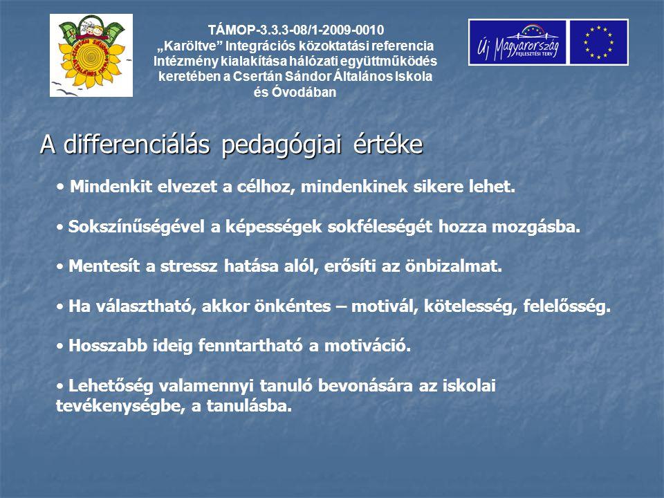 """A differenciálás pedagógiai értéke TÁMOP-3.3.3-08/1-2009-0010 """"Karöltve Integrációs közoktatási referencia Intézmény kialakítása hálózati együttműködés keretében a Csertán Sándor Általános Iskola és Óvodában Mindenkit elvezet a célhoz, mindenkinek sikere lehet."""