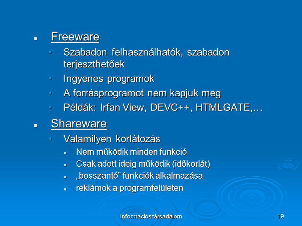 Információs társadalom19 Freeware Freeware Szabadon felhasználhatók, szabadon terjeszthetőekSzabadon felhasználhatók, szabadon terjeszthetőek Ingyenes
