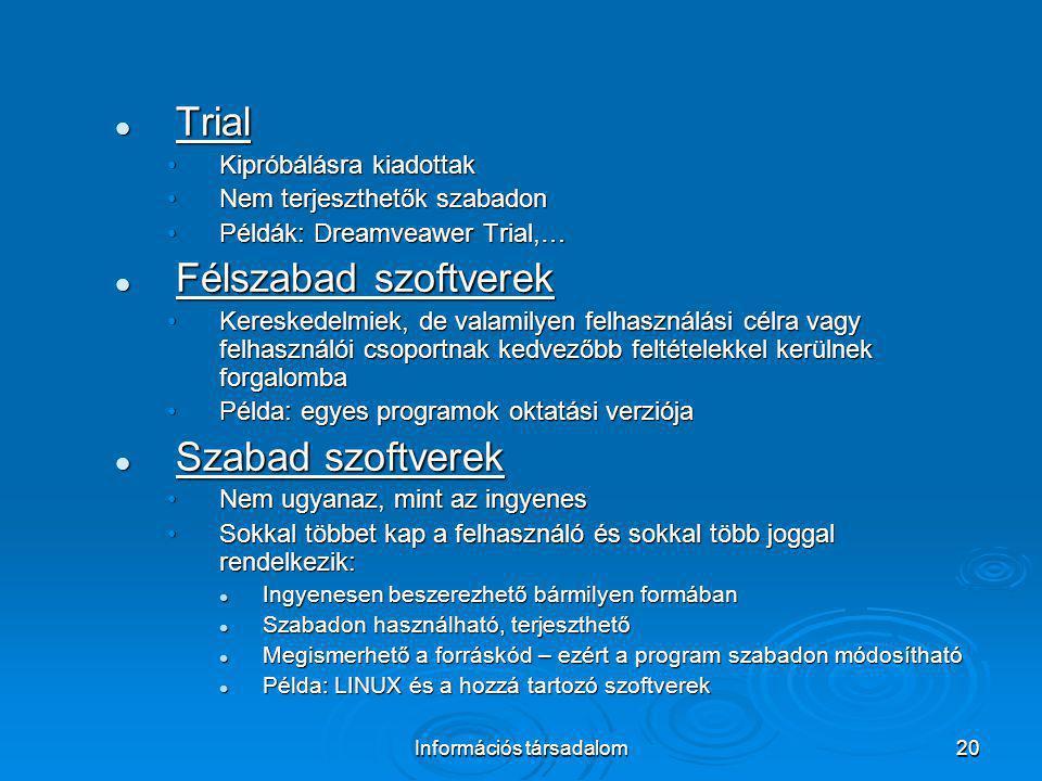 Információs társadalom20 Trial Trial Kipróbálásra kiadottakKipróbálásra kiadottak Nem terjeszthetők szabadonNem terjeszthetők szabadon Példák: Dreamve
