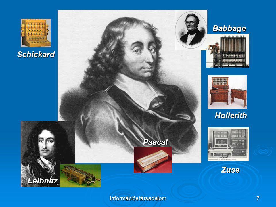 Információs társadalom7 Schickard Pascal Leibnitz Babbage Hollerith Zuse