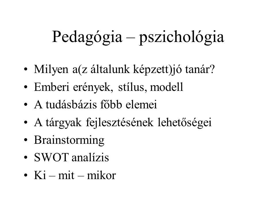 Pedagógia – pszichológia Milyen a(z általunk képzett)jó tanár.