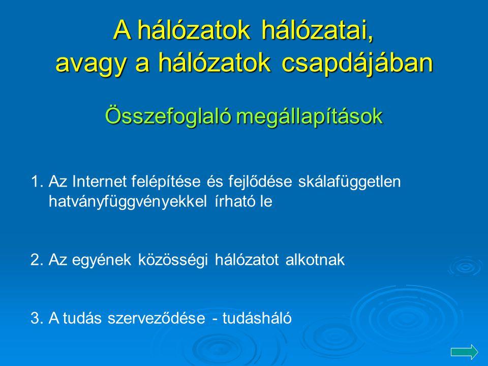 Összefoglaló megállapítások 1.Az Internet felépítése és fejlődése skálafüggetlen hatványfüggvényekkel írható le 2.Az egyének közösségi hálózatot alkotnak 3.A tudás szerveződése - tudásháló A hálózatok hálózatai, avagy a hálózatok csapdájában