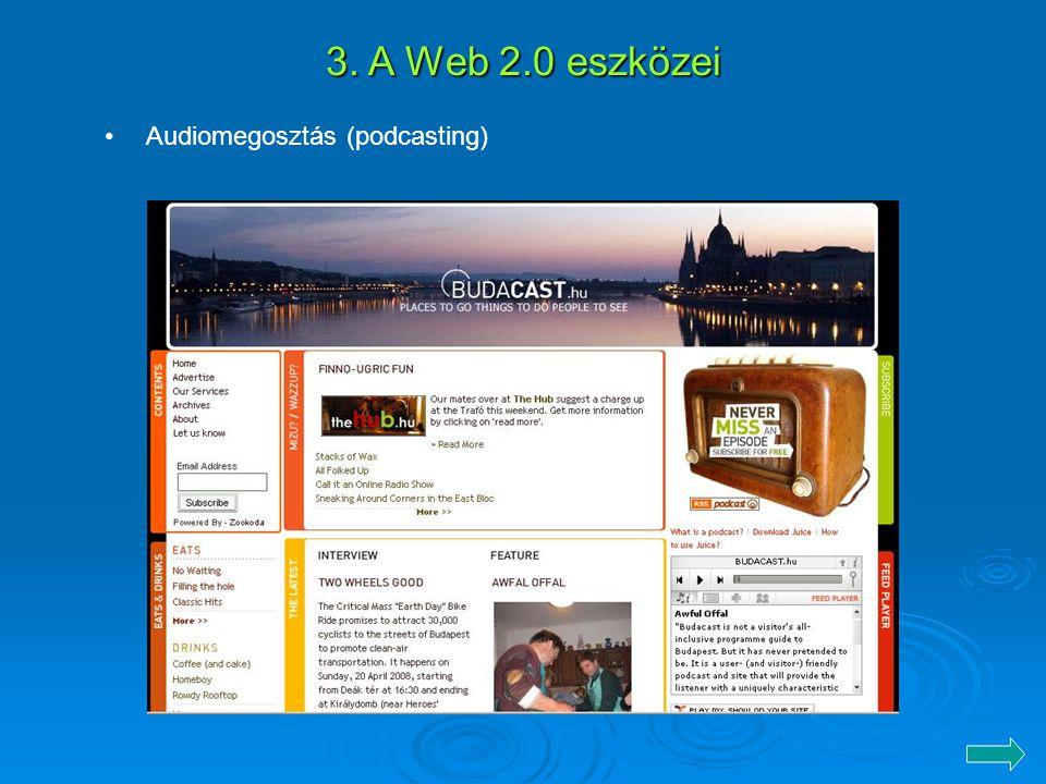 3. A Web 2.0 eszközei Audiomegosztás (podcasting)