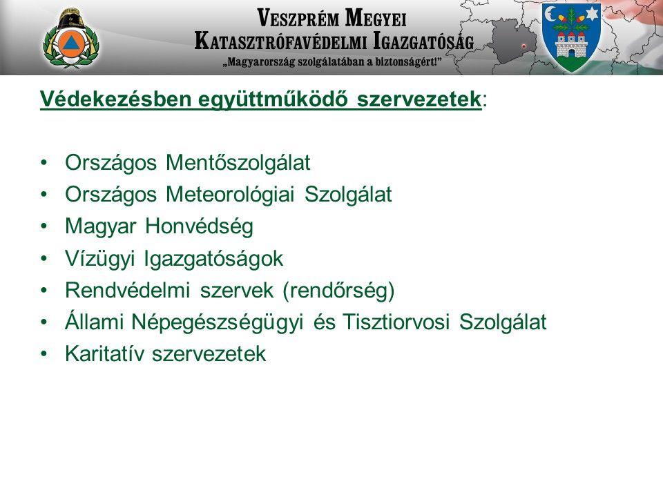 Védekezésben együttműködő szervezetek: Országos Mentőszolgálat Országos Meteorológiai Szolgálat Magyar Honvédség Vízügyi Igazgatóságok Rendvédelmi szervek (rendőrség) Állami Népegészségügyi és Tisztiorvosi Szolgálat Karitatív szervezetek