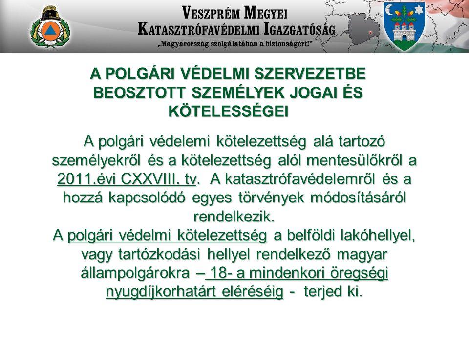 A POLGÁRI VÉDELMI SZERVEZETBE BEOSZTOTT SZEMÉLYEK JOGAI ÉS KÖTELESSÉGEI A polgári védelemi kötelezettség alá tartozó személyekről és a kötelezettség alól mentesülőkről a 2011.évi CXXVIII.