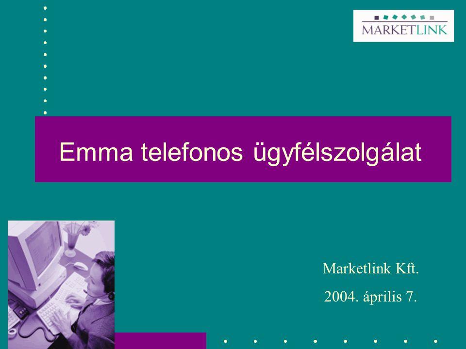 Emma telefonos ügyfélszolgálat Marketlink Kft. 2004. április 7.