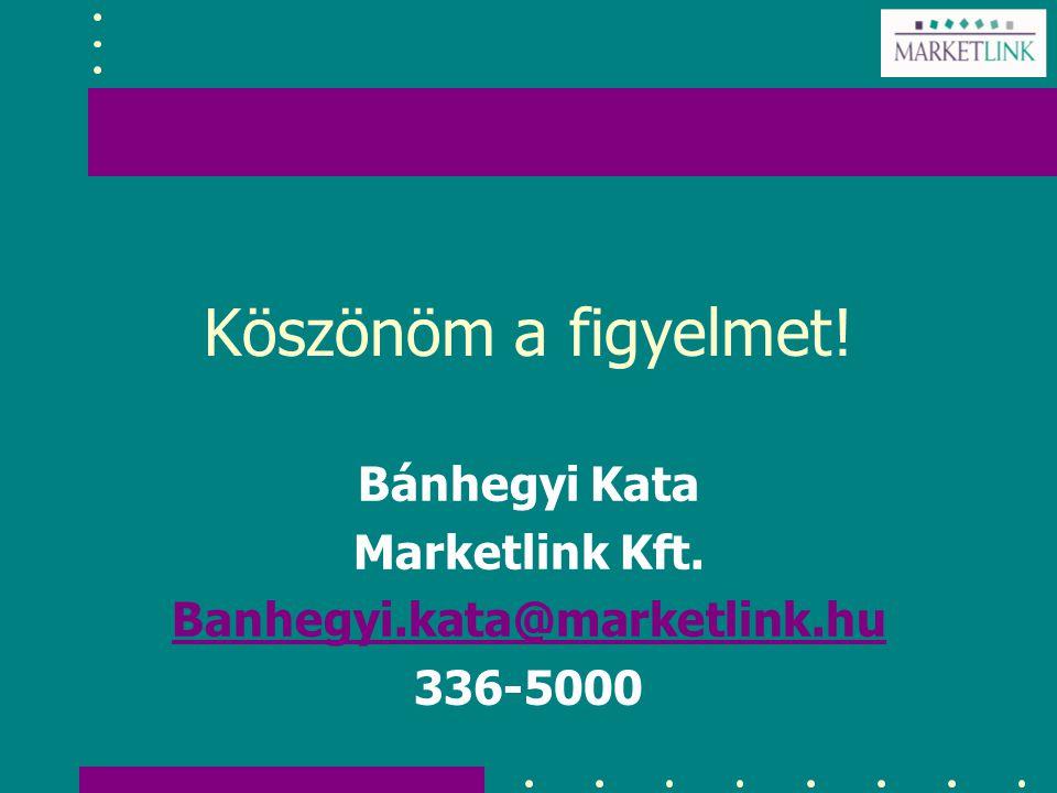 Köszönöm a figyelmet! Bánhegyi Kata Marketlink Kft. Banhegyi.kata@marketlink.hu 336-5000