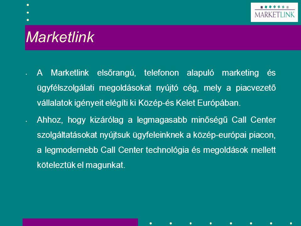 Marketlink A Marketlink elsőrangú, telefonon alapuló marketing és ügyfélszolgálati megoldásokat nyújtó cég, mely a piacvezető vállalatok igényeit elég