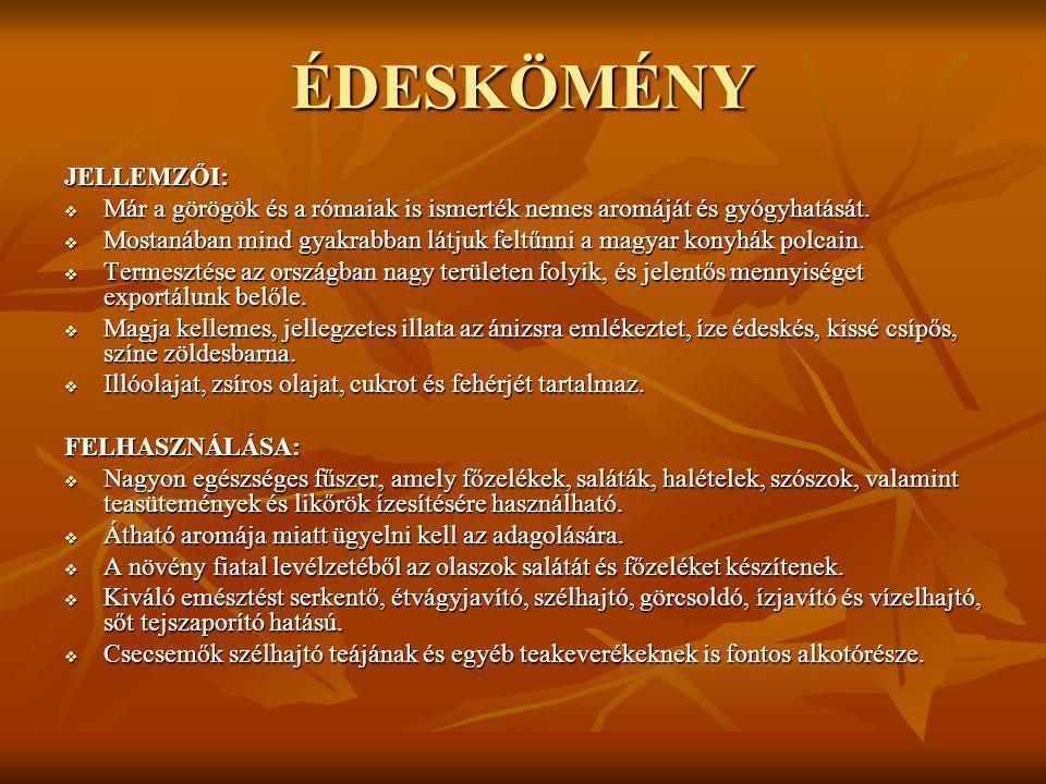 ÉDESKÖMÉNY JELLEMZŐI:  Már a görögök és a rómaiak is ismerték nemes aromáját és gyógyhatását.  Mostanában mind gyakrabban látjuk feltűnni a magyar k