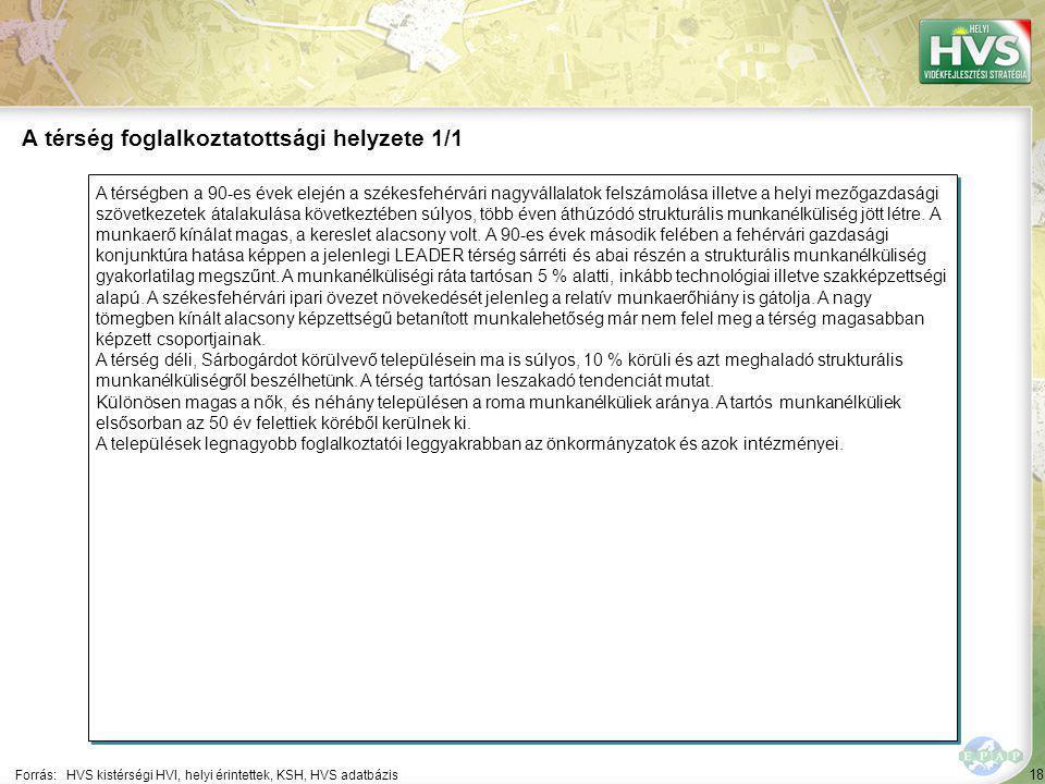 18 A térségben a 90-es évek elején a székesfehérvári nagyvállalatok felszámolása illetve a helyi mezőgazdasági szövetkezetek átalakulása következtében