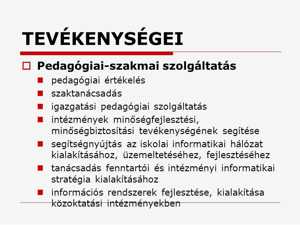 TEVÉKENYSÉGEI  Pedagógiai-szakmai szolgáltatás pedagógiai értékelés szaktanácsadás igazgatási pedagógiai szolgáltatás intézmények minőségfejlesztési,