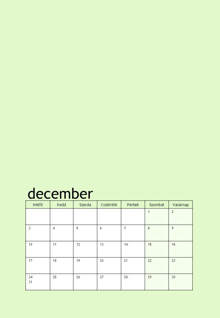 december HétfőKeddSzerdaCsütörtökPéntekSzombatVasárnap 12 3456789 10111213141516 17181920212223 24 31 252627282930