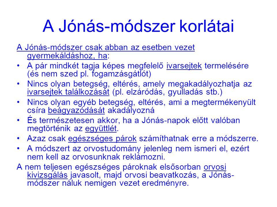 A Jónás-módszer korlátai A Jónás-módszer csak abban az esetben vezet gyermekáldáshoz, ha: A pár mindkét tagja képes megfelelő ivarsejtek termelésére (