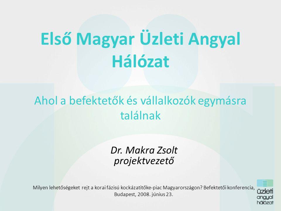 Első Magyar Üzleti Angyal Hálózat Ahol a befektetők és vállalkozók egymásra találnak Dr. Makra Zsolt projektvezető Milyen lehetőségeket rejt a korai f