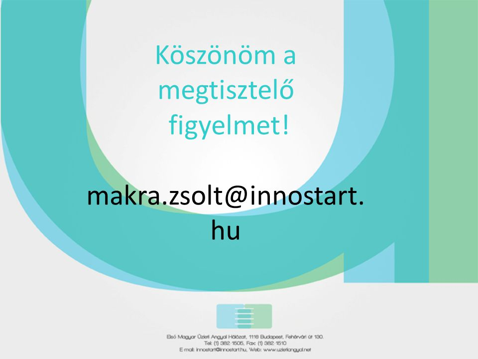 Köszönöm a megtisztelő figyelmet! makra.zsolt@innostart. hu