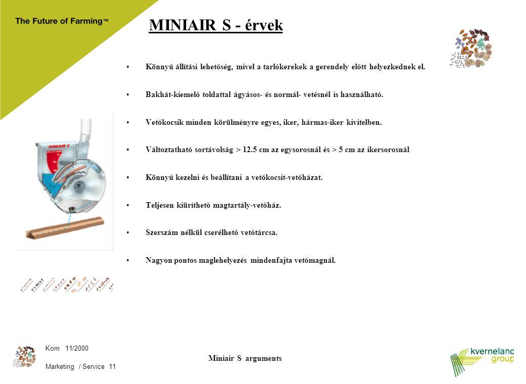 Korn 11/2000 Marketing / Service 11 Miniair S arguments MINIAIR S - érvek Könnyű állítási lehetőség, mivel a tarlókerekek a gerendely előtt helyezkedn
