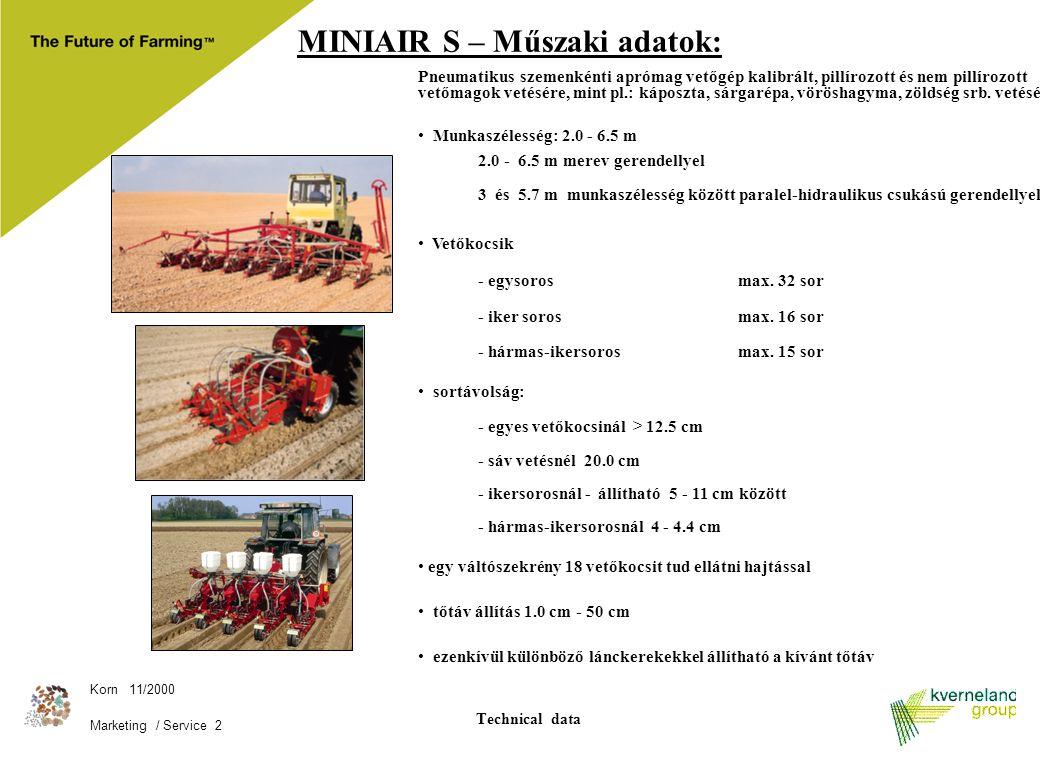 Korn 11/2000 Marketing / Service 2 Technical data MINIAIR S – Műszaki adatok: Pneumatikus szemenkénti aprómag vetőgép kalibrált, pillírozott és nem pi