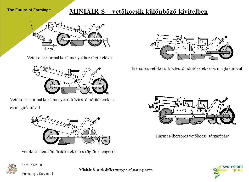 Korn 11/2000 Marketing / Service 4 MINIAIR S – vetőkocsik különböző kivitelben Miniair S with different type of sowing rows Vetőkocsi fém tömörítőkeré