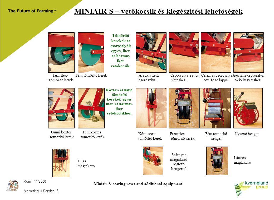Korn 11/2000 Marketing / Service 6 Miniair S sowing rows and additional equipment MINIAIR S – vetőkocsik és kiegészítési lehetőségek farmflex- Tömörít