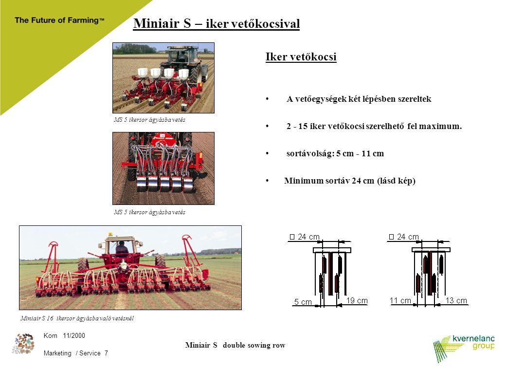 Korn 11/2000 Marketing / Service 7 Miniair S 16 ikersor ágyásba való vetésnél Miniair S – iker vetőkocsival Iker vetőkocsi A vetőegységek két lépésben