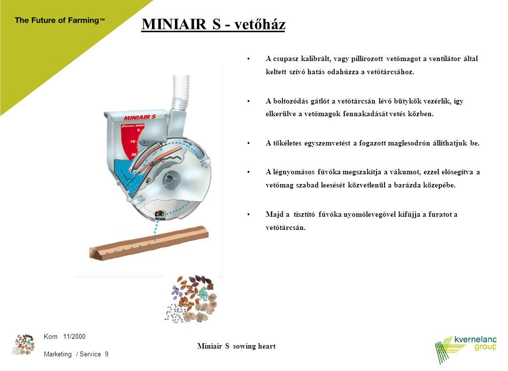 Korn 11/2000 Marketing / Service 9 Miniair S sowing heart A csupasz kalibrált, vagy pillírozott vetőmagot a ventilátor által keltett szívó hatás odahú