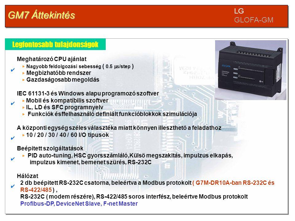 GM7 Áttekintés LG GLOFA-GM Legfontosabb tulajdonságok Meghatározó CPU ajánlat ▶ Nagyobb feldolgozási sebesség ( 0.5 ㎲ /step ) ▶ Megbizhatóbb rendszer