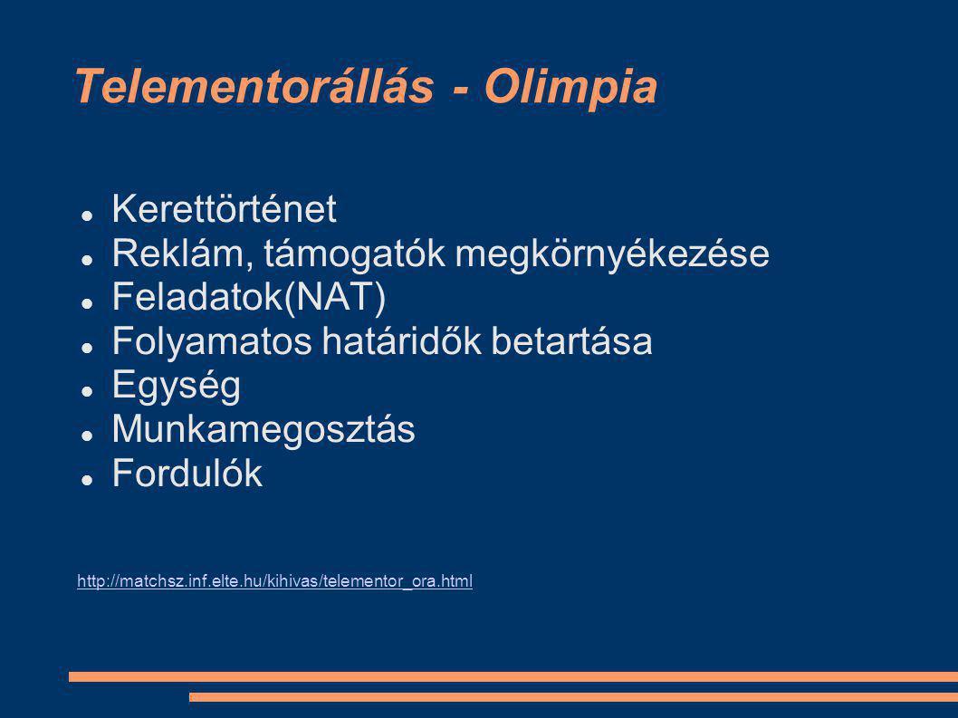 Telementorállás - Olimpia Kerettörténet Reklám, támogatók megkörnyékezése Feladatok(NAT) Folyamatos határidők betartása Egység Munkamegosztás Fordulók http://matchsz.inf.elte.hu/kihivas/telementor_ora.html