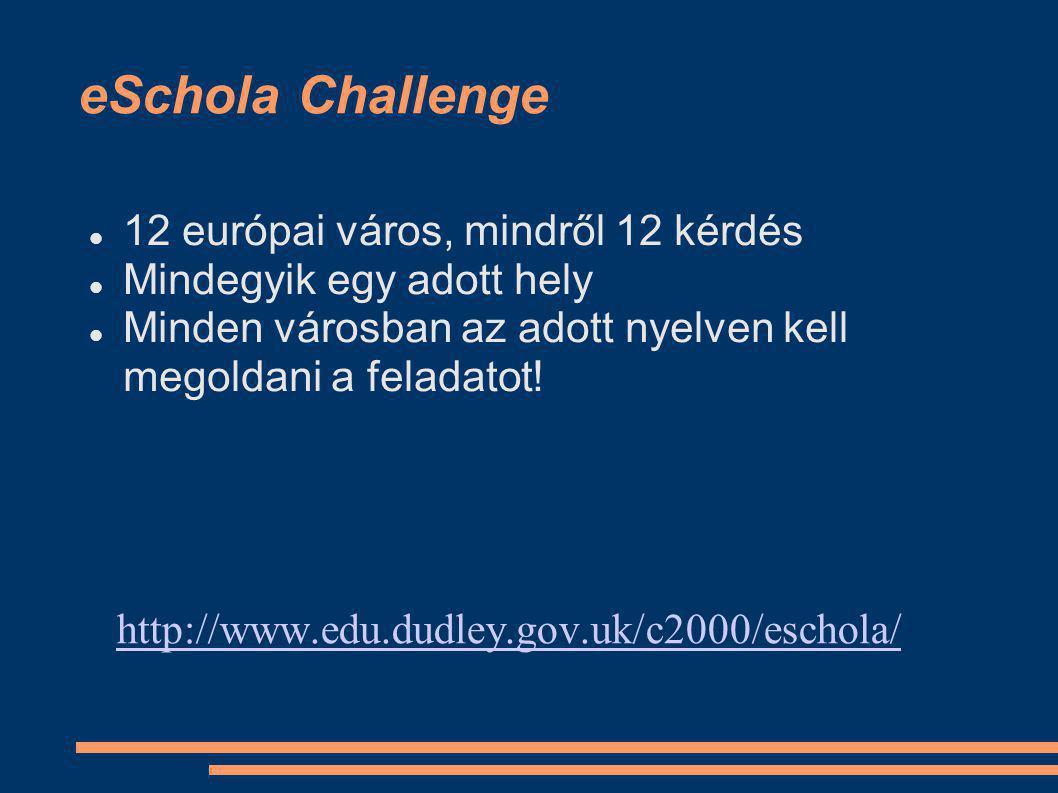 eSchola Challenge 12 európai város, mindről 12 kérdés Mindegyik egy adott hely Minden városban az adott nyelven kell megoldani a feladatot.