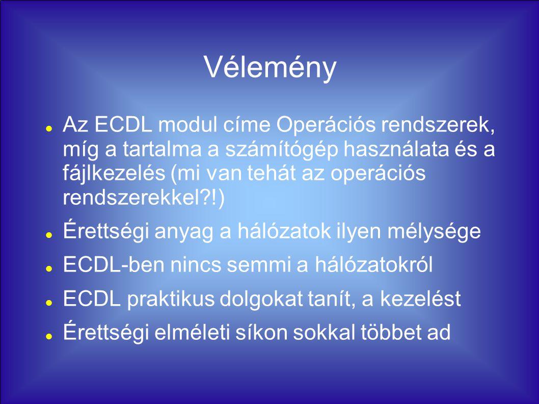 Vélemény Az ECDL modul címe Operációs rendszerek, míg a tartalma a számítógép használata és a fájlkezelés (mi van tehát az operációs rendszerekkel !) Érettségi anyag a hálózatok ilyen mélysége ECDL-ben nincs semmi a hálózatokról ECDL praktikus dolgokat tanít, a kezelést Érettségi elméleti síkon sokkal többet ad