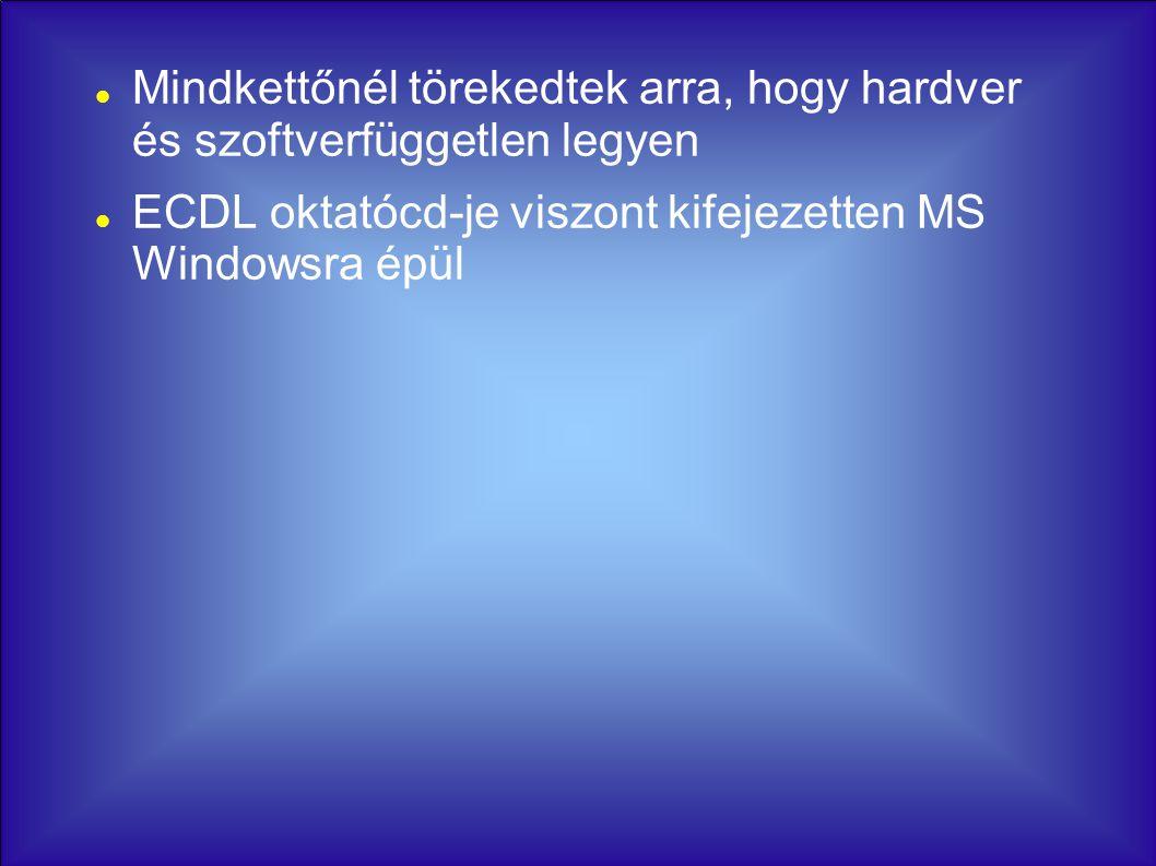 Mindkettőnél törekedtek arra, hogy hardver és szoftverfüggetlen legyen ECDL oktatócd-je viszont kifejezetten MS Windowsra épül