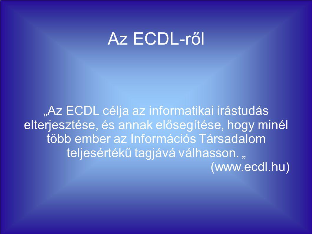 """Az ECDL-ről """"Az ECDL célja az informatikai írástudás elterjesztése, és annak elősegítése, hogy minél több ember az Információs Társadalom teljesértékű tagjává válhasson."""