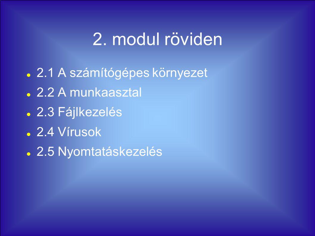 2. modul röviden 2.1 A számítógépes környezet 2.2 A munkaasztal 2.3 Fájlkezelés 2.4 Vírusok 2.5 Nyomtatáskezelés