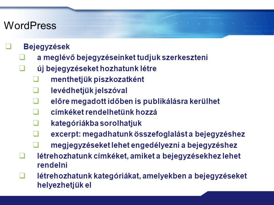 """WordPress  Extras  Enable mShots site previews on this blog – a bejegyzésekben és az oldalakban a linkekhez """"snapshot ablak beállítása  Display a mobile theme when… - mobil téma bekapcsolása ha mobil böngészőn nézzük az oldalt  Hide related links on this blog… - kapcsolódó linkek elrejtése  Typekit Fonts  saját betűtípus megjelenítése az oldalon  Editt CSS  saját megjelenés készítése a bloghoz (ha van Custom CSS Upgrade)"""