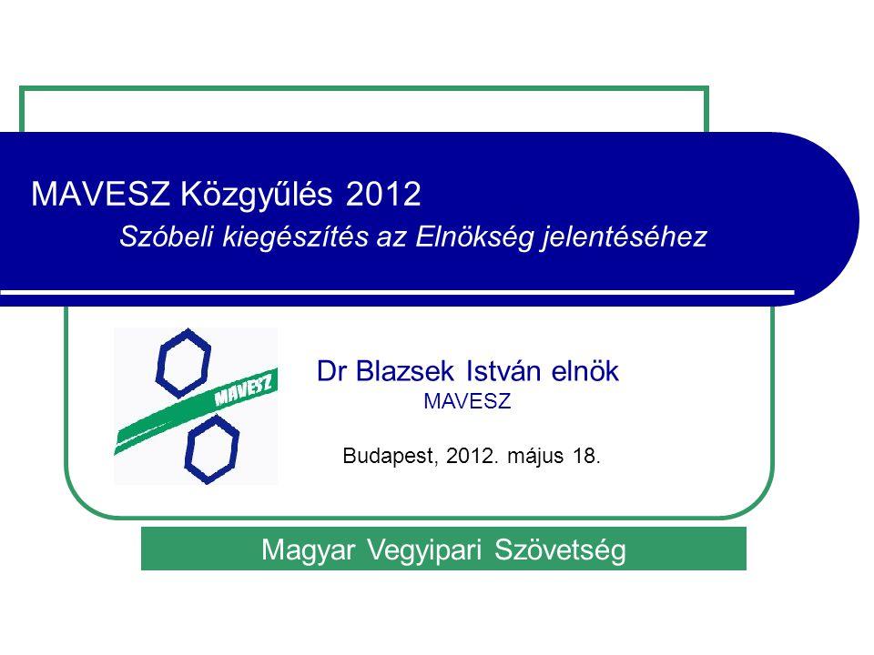 MAVESZ Közgyűlés 2012 Szóbeli kiegészítés az Elnökség jelentéséhez Magyar Vegyipari Szövetség Dr Blazsek István elnök MAVESZ Budapest, 2012.