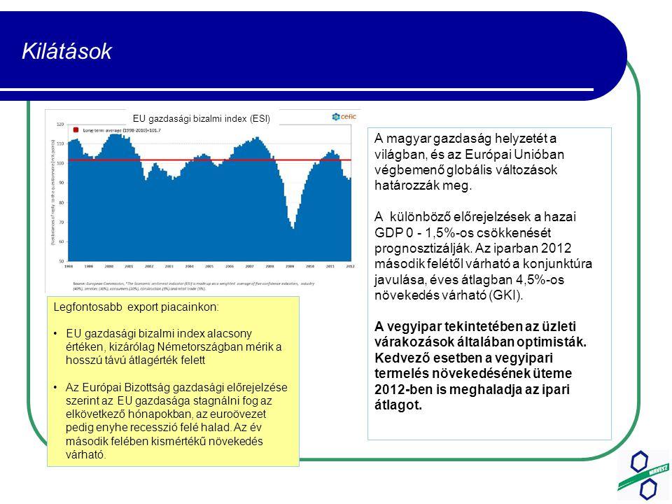 Kilátások Legfontosabb export piacainkon: EU gazdasági bizalmi index alacsony értéken, kizárólag Németországban mérik a hosszú távú átlagérték felett Az Európai Bizottság gazdasági előrejelzése szerint az EU gazdasága stagnálni fog az elkövetkező hónapokban, az euroövezet pedig enyhe recesszió felé halad.