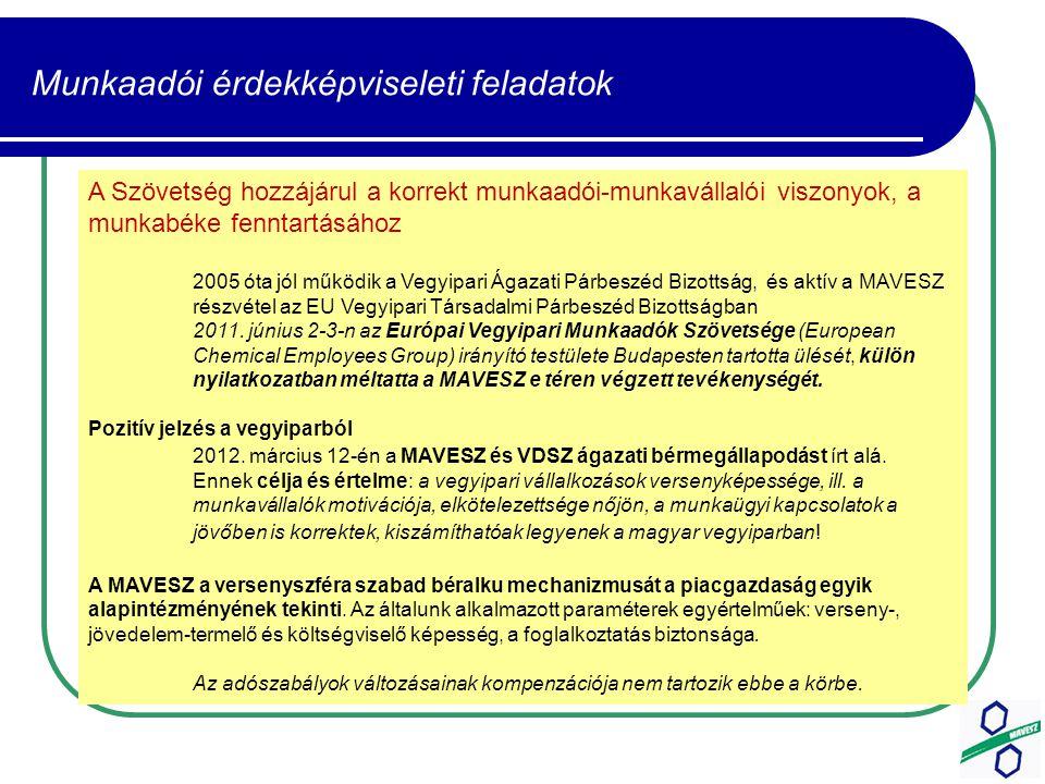 Munkaadói érdekképviseleti feladatok A Szövetség hozzájárul a korrekt munkaadói-munkavállalói viszonyok, a munkabéke fenntartásához 2005 óta jól működik a Vegyipari Ágazati Párbeszéd Bizottság, és aktív a MAVESZ részvétel az EU Vegyipari Társadalmi Párbeszéd Bizottságban 2011.